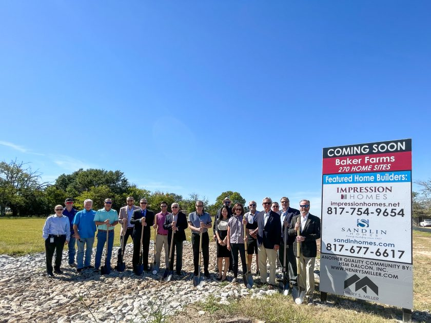 HSM Dalcon Breaks Ground for Baker Farms Featuring 270 Home Sites in Cleburne, TX: Builders are Impression Homes and Sandlin Homes